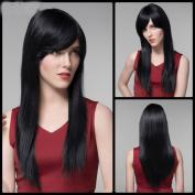 100% Real Hair Long Straight Side Bang Real Natural Hair Wig for Women