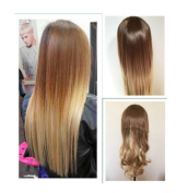 60cm Half Head Wig Long Wavy Curly OMBRE DIP DYED 3/4 Weave Brown Blonde (Wavy, light brown to sandy blonde) DL