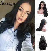 Xiweiya black body wave synthetic lace front wig for women long wavy hair replacement wig hald hand tied heat resistant heat friendly