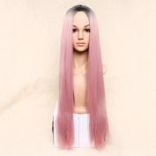 Secretgirl Women's Fashion Ombre Pink Long Straight Wig Cosplay Costume Party Wigs Halloween