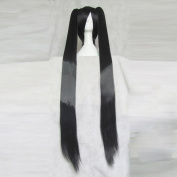 Hyperdimension Neptunia Noire Black Straight Cosplay Wig + Two 120cm Ponytails