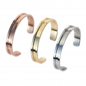 Nymph Code 3 Pcs Bridal Wedding Stainless Steel Hair Ties Bracelets Grooved Cuff Bangles For Women Girls