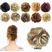 FESHFEN Scrunchy Scrunchie Hair Bun Updo Hairpiece Ponytail Hair Extensions Wavy Curly Messy Hair Bun Extensions Donut Chignons Hair Piece Wig Medium Chestnut Brown & Bleach Blond Mixed Hairpiece