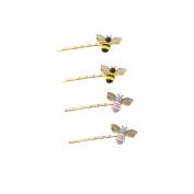 Yueton Pack of 4 Girl Kid Honeybee Metal Hairpin Bee Crystal Hair Side Clip Barrette Bobby Pin Hairpin Hair Accessories