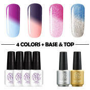 Sexy Mix Mood Gel Nail Polish Set,UV Chameleon Colour Changing Nail Polish Kit 4 Colours Top Coat and Base Coat