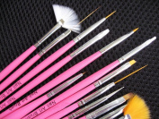 15Pcs Acrylic Painting UV Gel Pen Tips Nail Art Brushes Tools Kit Design Set