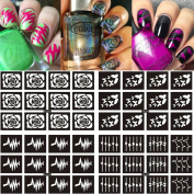 Ejiubas 8 Sheets 15 Different Designs Nail Vinyls Nail Design Stencils Nails Stickers Set
