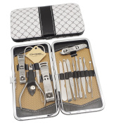 Okbool 13pcs Stainless Steel Manicure Pedicure Set ,Travel & Grooming Set, Personal Care Tools, Nail Scissors Nail Clippers Kit with Leather Case