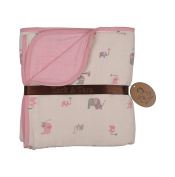 Zack & Tara Muslin Slumber Blanket - Lovely Elephants in Pink