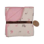 Zack & Tara Muslin Slumber Blanket - Lovely Elephants in Pink