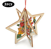 Christmas Decor, Proboths 3 Pcs Lovely Wood Carving Ornaments Wall Window Hangings for Christmas Xmas Star