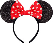 Minnie Mouse Ears Sparkly Shimmer Headband Red White Polkadots Hair Bow Women Girls Mickey Birthday