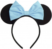 Minnie Mouse Ears Inspired Light Blue Hair Bow Headband Women Girls Mickey Birthday Party Theme Outfit by Sweet in the City