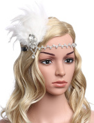 Babeyond Women's Vintage Themed Party Prom Flapper Headbands 1920s Feather Headpiece Crystal Headband with Feather