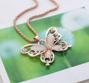 Fheaven Fashion Womens Lady Rose Gold Opal Butterfly Pendant Necklace Sweater Chain Hot