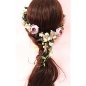 AWAYTR New Bohemia Flower Hair Rope Rattan Berry Flower Crown Wedding Beach Photography Hair Accessory