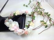 White Organdy Nature Vines Garland Flower Headband :S23