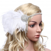 Babeyond Women's Gorgeous Party Prom Flapper Headbands 1920s Feather Headpiece Crystal Headband