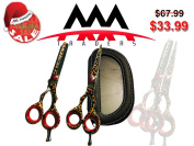 Professional Razor Edge Barber Hair Cutting and Thinning/Texturizing Scissors/Shears Set - Leopard Print Stainless Steel
