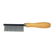 Bürstenhaus Redecker Stainless Steel Metal Comb with Varnished Wooden Handle, 18cm