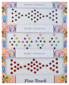 Shiny Velvet Bindi Tattoo Stickers 3 Cards of different sized Polka Dot Red Adhesive Body Jewellery