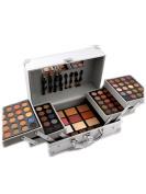 SaiDeng 3 Layers Silver Aluminium Box Makeup Box Include 80 Colours Eye Shadow, Blush, Powder, Eyebrow, Bronzing Powder Set