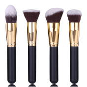 4pcs Synthetic Kabuki Makeup Cosmetic Face Brush Flat Top Foundation Brush, Flat Angled Round Blending Blush Brush, Tapered Contouring Face Brush
