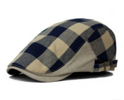 Plaid Men`s Flat Cap Irish Ivy Hat Cabbie Canvas hats Navy