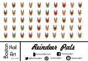 Reindeer Pals - Waterslide Nail Decals - 50pc