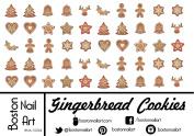 Gingerbread Cookies - Waterslide Nail Decals - 50pc