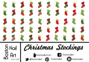 Christmas Stockings - Waterslide Nail Decals - 50pc