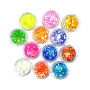 BephaMart 12 Colour Nail Art Hexagon Shiny Glitter Powder 2mm Set. Shipped and Sold by BephaMart