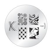 Konad Stamping Nail Art DIY Circle Round Image Plate m64 with One Ganda Nail Buffer