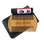 Beard Comb Plus Bonus Balmstick-Leave In Conditioner-Best Beard Softener and Beard Comb for Men, Moisturises Dry Itchy Beard-Unique Stocking Stuffer for Men