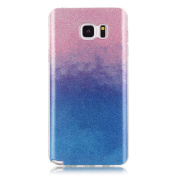 Moonmini Gradient Colour Sparkling Glitter Ultra Slim Fit Soft TPU Phone Back Case Cover for Samsung Galaxy Note 5 - Pink + Blue