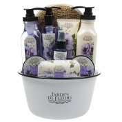 10pc Jardin De Fleurs French Lavender Bath Body Gift Set Basin Mitt Soap Lotion For Her Women