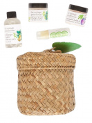 The Cottage Greenhouse Herbs and Tea Gift Set with Lotion, Bubble Bath, Lip Balm, Salt Scrub