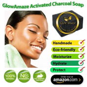 GlowAmaze Activated Charcoal Soap (Black) - Handmade, Natural, Organic Face and Body Wash - Helps Reduce Acne, Blemishes and Breakouts for Clearer, Healthier Skin