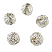 30PCS 10MM Silver Crystal Rondelle Spacer Beads Fire Ball Beads for Jewellery Making & DIY