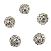 20PCS 12MM Rhodium Colour Crystal Rondelle Ball Shape Spacer Beads Fire Ball for Jewellery Making & DIY
