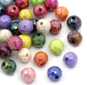 "300PCs Mixed AB Colour Faceted Round Acrylic Spacer Beads 8mm(3/8"") Dia"