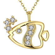 T-JULY Womens Romantic Gold Plated Pendant Fish Necklace Christmas Gifts for Her