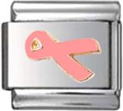 RIBBON BREAST CANCER PINK AWARENESS Enamel Italian Charm 9mm - 1 x NC012 Single Bracelet Link