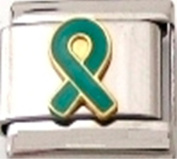RIBBON OVARIAN CANCER TEAL AWARENESS Enamel Italian Charm 9mm - 1 x NC208 Single Bracelet Link
