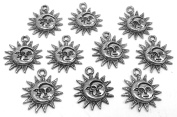 Set of Ten (10) Silver Tone Pewter Sun and Moon Charms