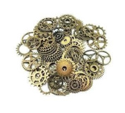 Fangfang 100 Gramme Assorted Antique Steampunk Gears Charms Pendant Clock Watch Wheel Gear for Crafting Jewellery Making Accessory