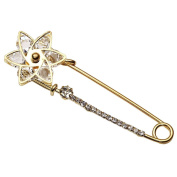 Top Plaza Women Fashion Rhinstone Crystal Accented Golden Safety Pin Jewellery Brooch Breastpin - Catch Scarf ,Lapel or Collar
