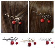 QTMY 3 PCS Metal Cherry Hairpin Hair Clips Hair Accessories