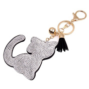 SUPPION Rhinestone Tassel Cat Keychain Bag Charm Pendant Key Ring