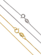 Mudder 0.8 mm 925 Sterling Silver Box Chain Necklaces, Silver and Gold, 18 Inches, 2 Pieces